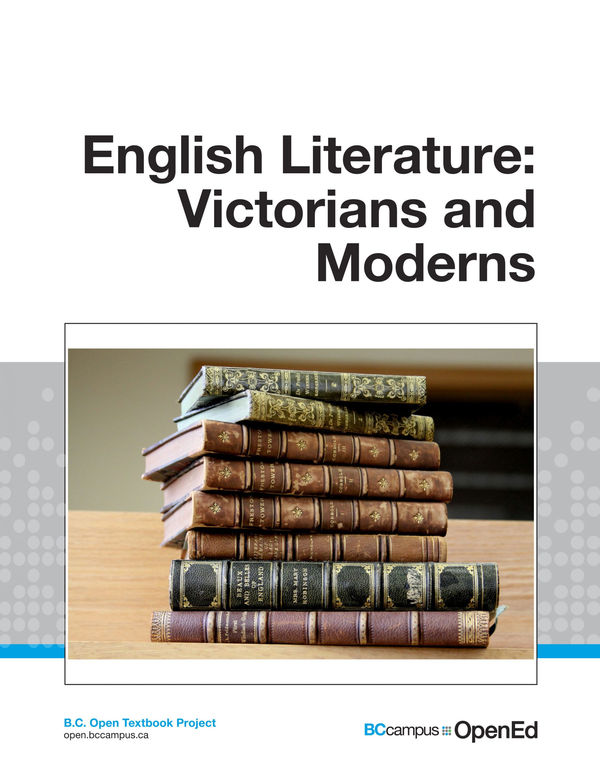 literature textbook cover featuring title and photo of stack of leatherbound, gilded books