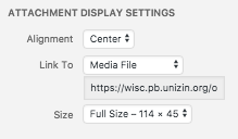 image of display settings for media, featuring alignment, media link, and size options